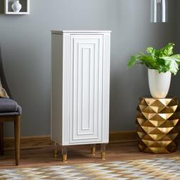 Modern Luxe White Finish Freestanding Jewelry Armoire Storag