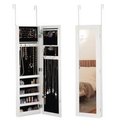 Modern Mirrored Jewelry Cabinet Armoire Organizer Storage Wa