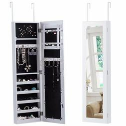 Modern Mirrored Over the Door White Jewelry Wood Armoire Sto