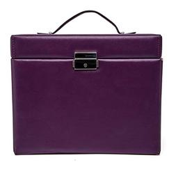 Jewelry Box Multifunctional Faux Leather Flannel Wood Large
