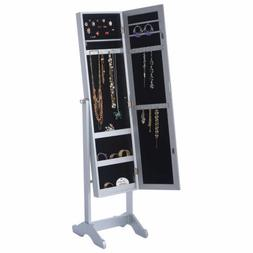 New Mirrored Jewelry Cabinet Armoire Mirror Organizer Storag