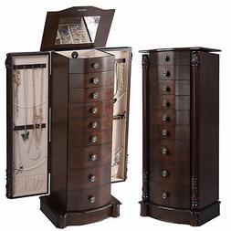 NEW Wooden Jewelry Cabinet Armoire Box Chest Mirror Ring Tra