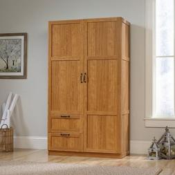 Oak Finish Armoire Wooden Wardrobe Storage Cabinet Closet Dr