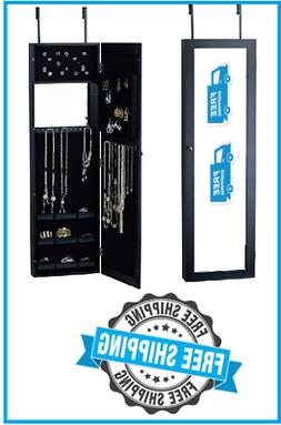 Over the Door wall mount Jewelry Armoire Full Length Mirror
