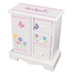 MyBambino Personalized Girls Jewelry Armoire with Stemmed Fl