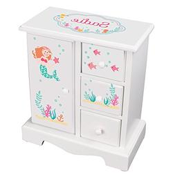 MyBambino Personalized Girls Jewelry Armoire with Mermaid Re