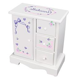 MyBambino Personalized Girls Jewelry Armoire with Lacey Bow