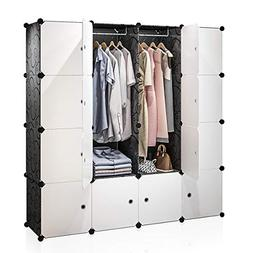 KOUSI Portable Closet Clothes Wardrobe Bedroom Armoire Stora