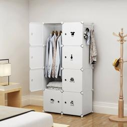 Portable Wardrobe Storage Closet Plastic Armoire, White, 2x4