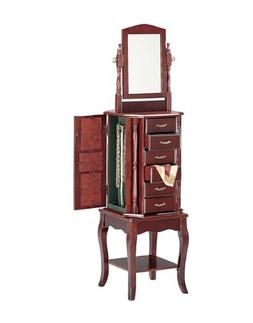 Queen Anne Style Cherry Finish Wood Revolving Jewelry Armoir