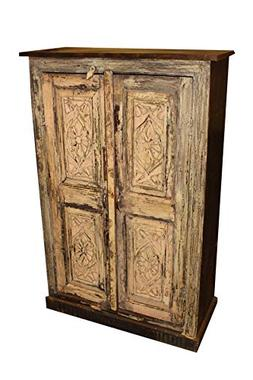Mogul Interior Rustic Antique Cabinet Floral Blush Carving B