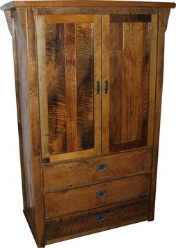 Rustic Barn Wood Clothing Armoire with Drawers - Amish Made
