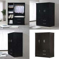 Hodedah 3 Door Bedroom Armoire With Drawers, Black Finish