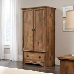 Rustic Oak Finish Armoire Wood Wardrobe Storage Cabinet Clos