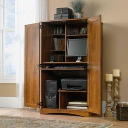 Rustic Oak Wooden Computer Armoire Storage Desk Home Office