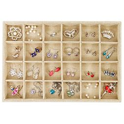 Valdler Sackcloth Stackable 24 Grid Jewelry Tray Showcase Di