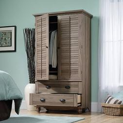 Salt Oak Wardrobe Armoire Closet Organizer Dresser Wide Vint