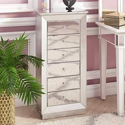 'Mia' Silver Leaf and Mirror Jewelry Armoire