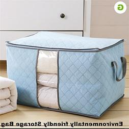 KIEJDH Solid Bamboo Charcoal Clothing Storage Box Quilt Stor
