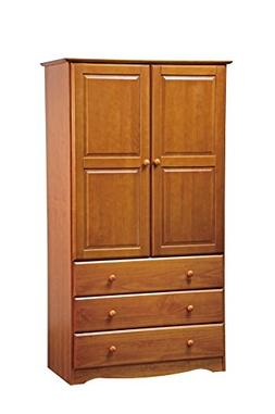"New! 100% Solid Wood 40""-Combo Wardrobe/Armoire/Closet/3-Dra"