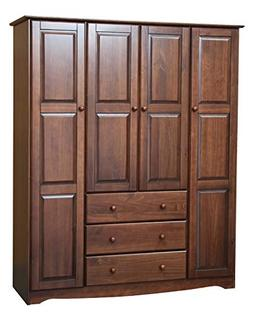 Palace Imports 100% Solid Wood Family Wardrobe/Armoire/Close