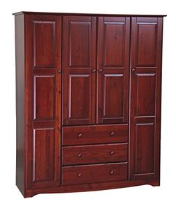 New! 100% Solid Wood Family Wardrobe/Armoire/Closet 5962 by