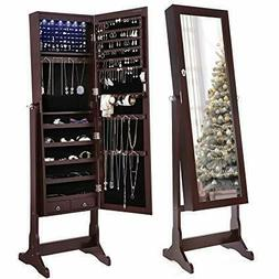 Songmics 6 LEDs Mirrored Jewelry Cabinet Lockable Standing A