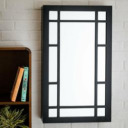 square border wall mounted jewelry armoire black