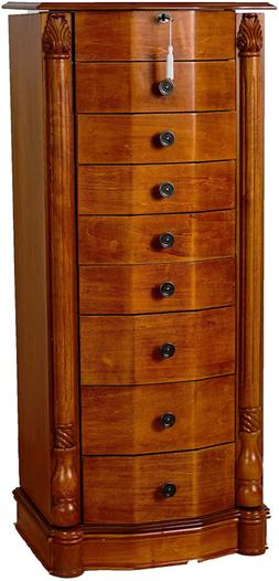 Stand Jewelry Storage Cabinet Armoire 8-Drawer Padded Antiqu