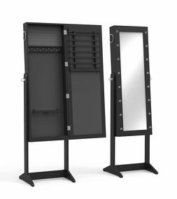 New View Stand Hang Black Finish 3 in 1 Jewelry Armoire LED