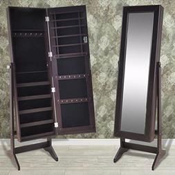 Free Standing Jewelry Cabinet with Mirror Brown Armoire Orga