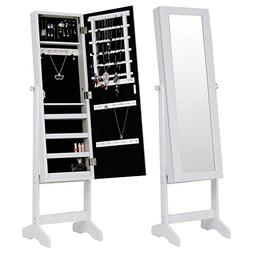 Free Standing Jewelry Cabinet Full-Length Mirrored Jewelry A