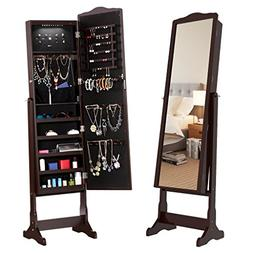 LANGRIA 10 LEDs Free Standing Jewelry Cabinet Lockable Full-