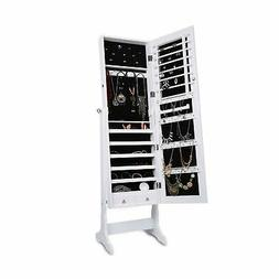 LANGRIA Free Standing Lockable Full Length Mirrored Jewelry