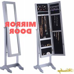 Standing Make Up Mirror Door With Jewelry Armoire Cabinet Or