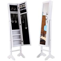 Giantex Mirrored Jewelry Cabinet Armoire with 4 LED Lights,