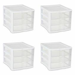 Sterilite 17918004 3 Drawer Unit, White Frame with Clear Dra