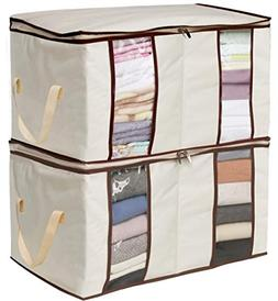 MISSLO Clothing Storage Bags 2 Divided Sections Closet Organ