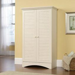 Storage Cabinet Armoire in Distressed Antiqued White New and