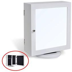 Festnight Table Top Mirrored Jewelry Cabinet 360° Rotating