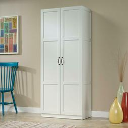 Tall Pantry Cabinet White Double Doors Kitchen Cupboard Shel