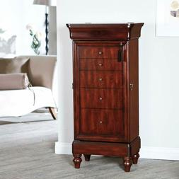 Traditional Freestanding Antique Walnut Locking Jewelry Armo