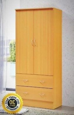 Hodedah Two Door Wardrobe, with Two Drawers, and Hanging Rod