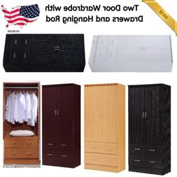 Two Door Wardrobe Armoire With Drawers And Hanging Rod Close