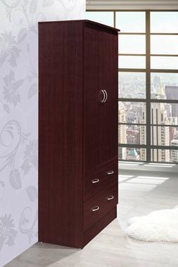 Two Door Wardrobe With Two Drawers And Hanging Rod Closet Wo