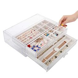 Jewelry Box Two-Layer Plastic Transparent Drawer Simple Earr