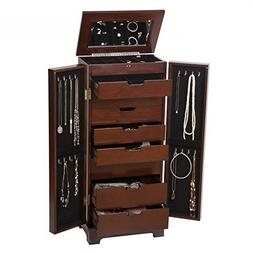 Unisex, Multi-Functional Large Wooden Jewelry Armoire in Dar