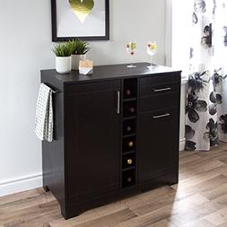 South Shore 9043770 Bar Cabinet with Bottle and Glass Storag