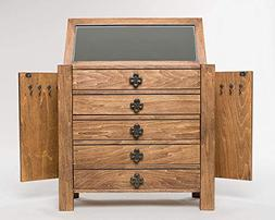 Large Vintage Jewelry Chest Made of Solid Oak with 2 Side Ne