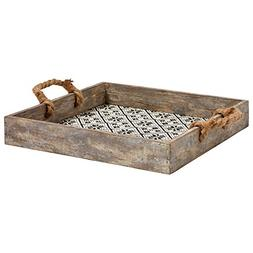 """Stone & Beam Vintage Farmhouse Wood and Rope Tray, 13.5""""W, W"""
